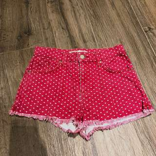 🚚 Topshop hearts all over highwaisted red shorts