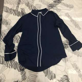 H&M Navy Blue Top with pipinh