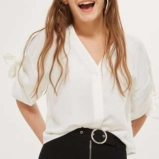 Topshop Tie Sleeves Ivory Top