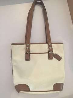 COACH Leather-Trimmed Fabric Handbag/Purse