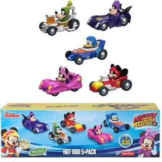 BNIB: Fisher Price Disney Mickey and The Roadster Die-Cast Racers, Hot Rod Vehicles, 5 Pack