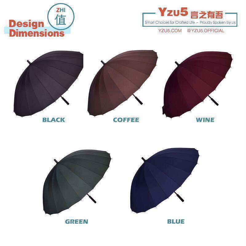 24 Ribs 190T High Density Big Golf Business Super Gentleman Umbrella Leather Handle Huge 1~3 pax Black Blue Green Red FREE COVER BAG CASE SPF 50+
