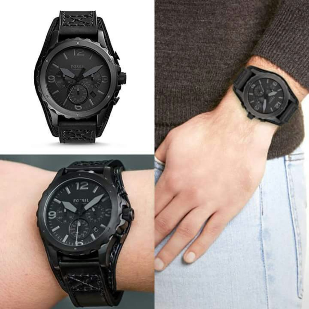 0323ac9038415 9.9 OFFER  FOSSIL NATE CHRONOGRAPH BLACK LEATHER WATCH