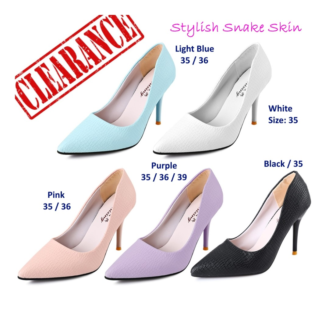d88253845ad 💯 Stylish Snakeskin Pointed Toe Ladies Thin High Heel Shoes ...