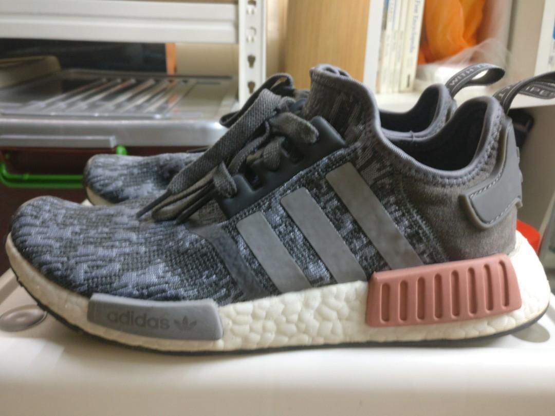 buy popular 6dfb9 8e47a Adidas NMD R1 Heather Grey Raw Pink, Women's Fashion, Shoes ...