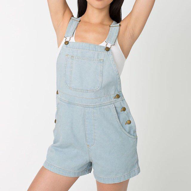 American Apparel light wash overalls shorts