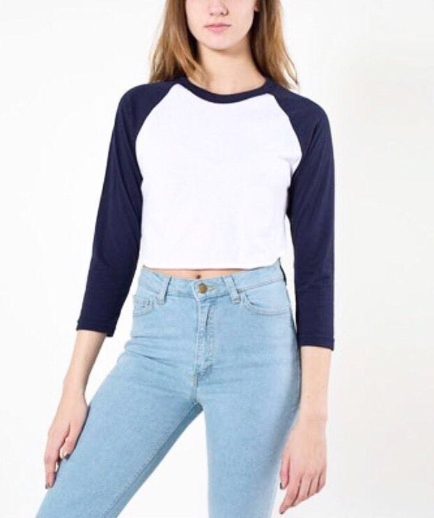 5a2883c107 Authentic American Apparel Cropped Baseball Tee (BLACK)