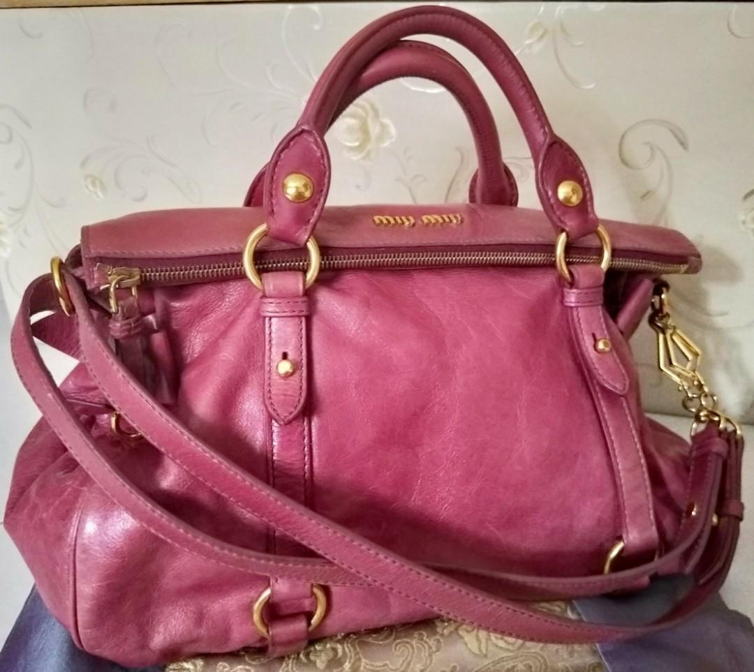 66ce88985fe6 FINAL reduced 💯Authentic Miu Miu by Prada Pink Rosa Vitello Lux ...