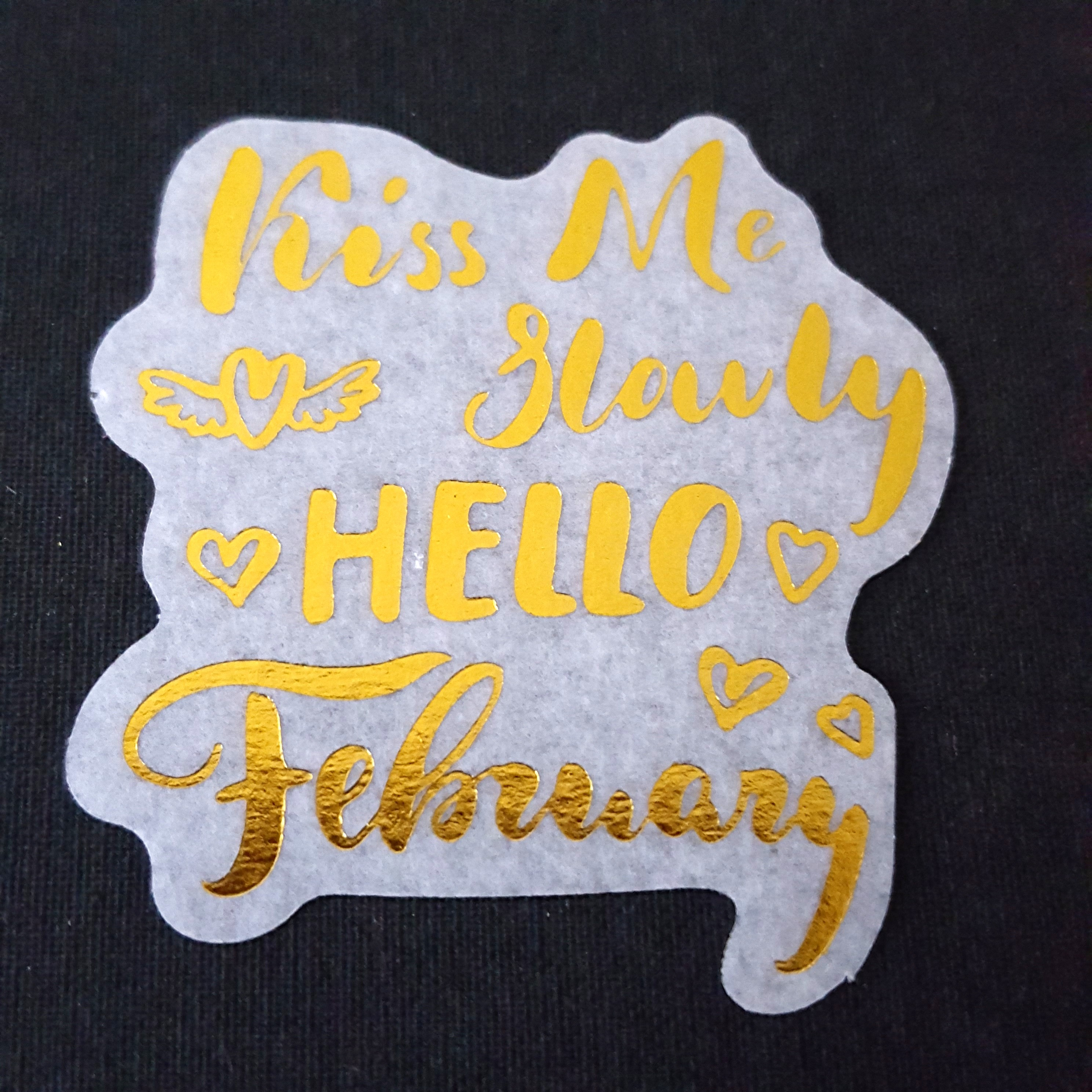 C7 Kiss Me Slowly Hello February Calligraphy Sticker Stickers