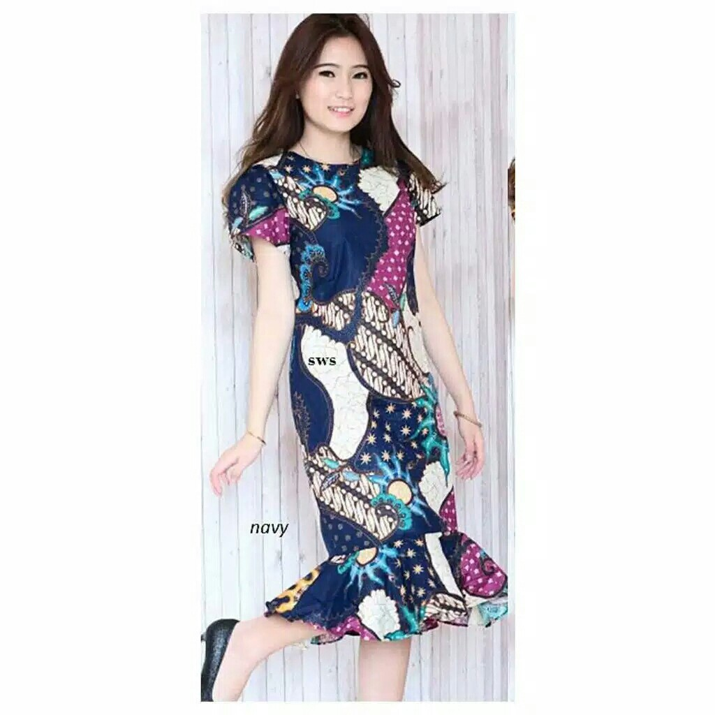 Free Ongkir Dress Batik Modern Baju Batik Terusan Biru Model Peplum Mermaid Sevn626