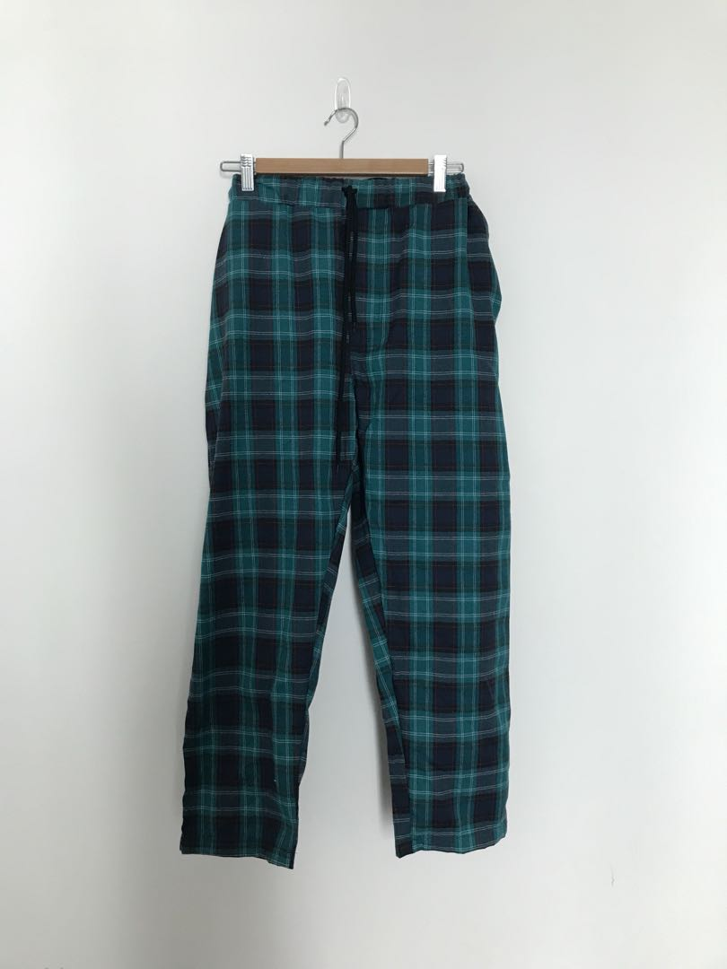 eba359bd Green Checkered Long Casual Vetements Pants, Women's Fashion ...