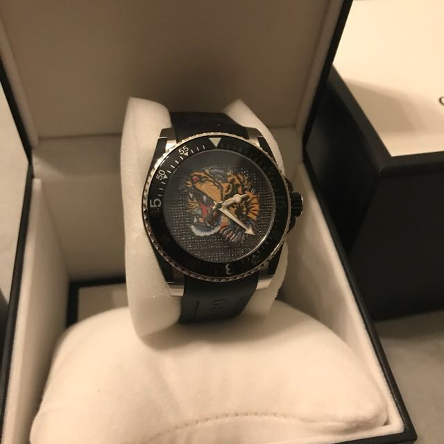 fa3ceac0fea Gucci 40mm Gucci Dive Tiger Watch w  Rubber Strap