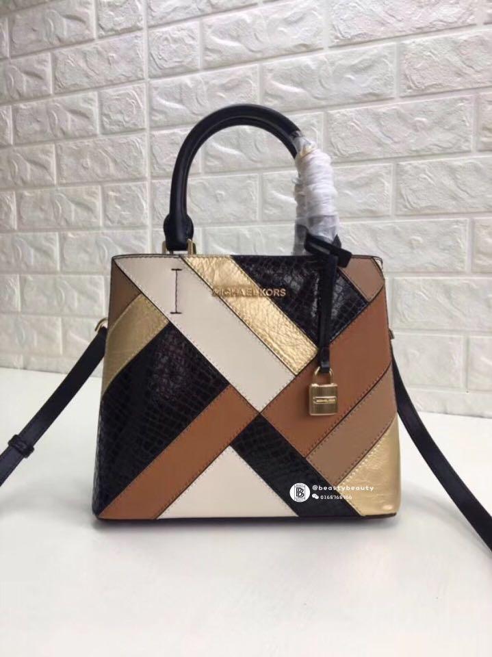 d6af29263d6e Michael Kors Adele MD Messenger Leather Bag - brown black