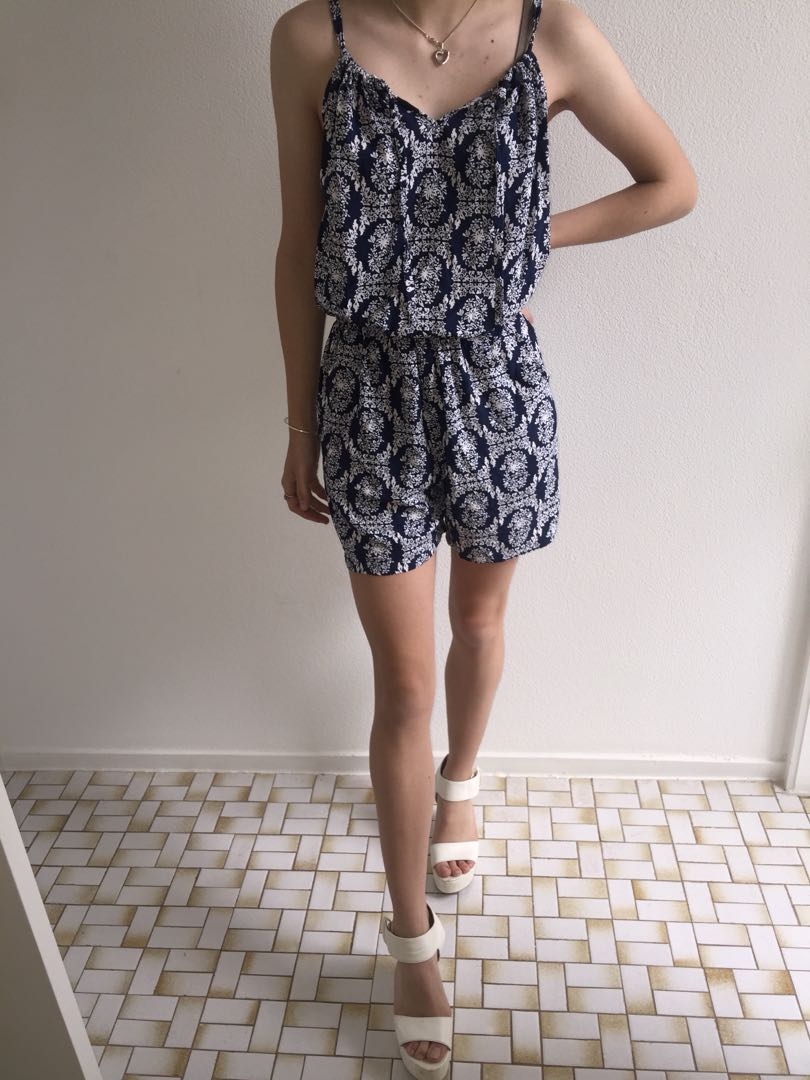 Navy and white patterned play suit