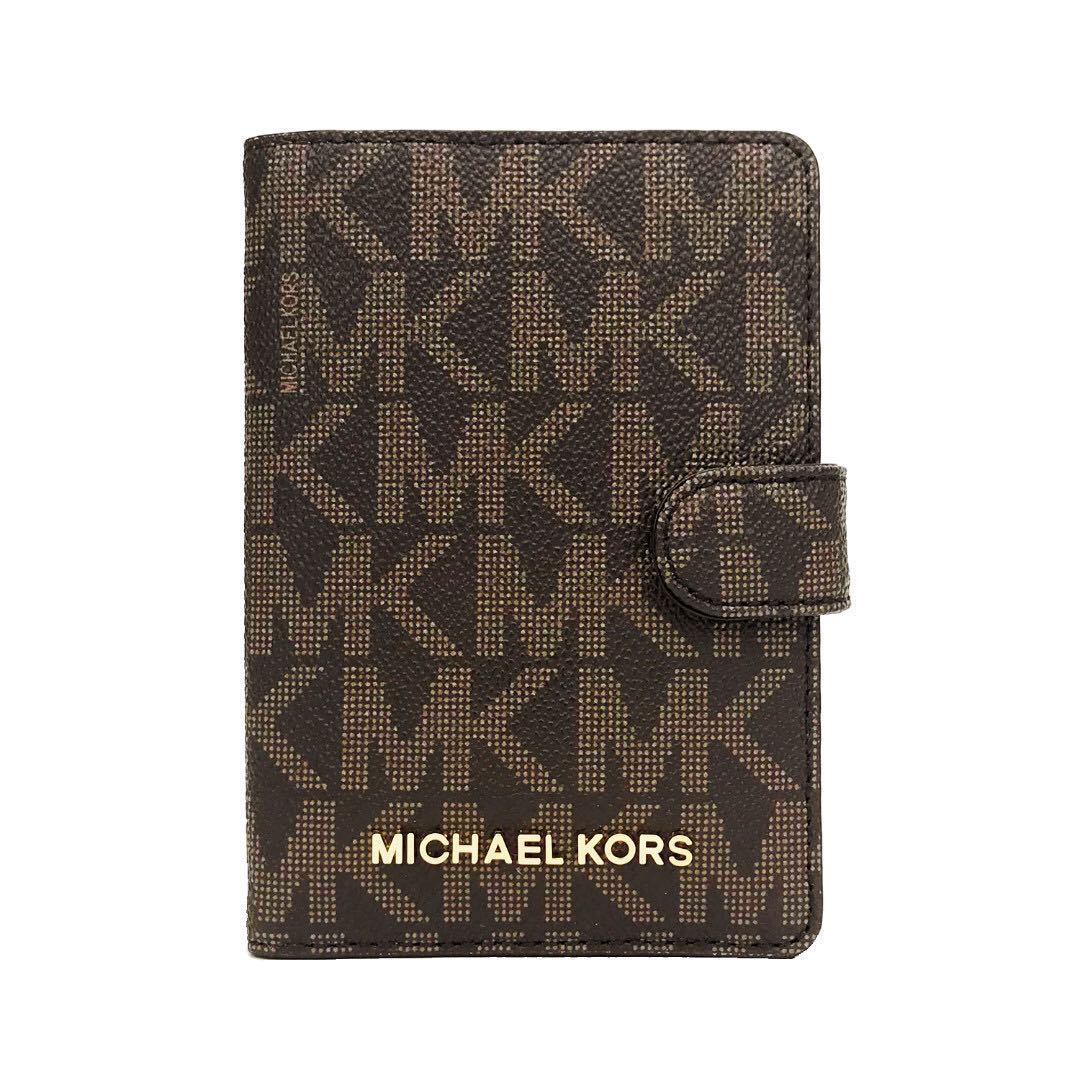 d98ca0b6ea57b4 NEW ARRIVAL Michael Kors Jet Set Travel Passport Case Dark Brown ...
