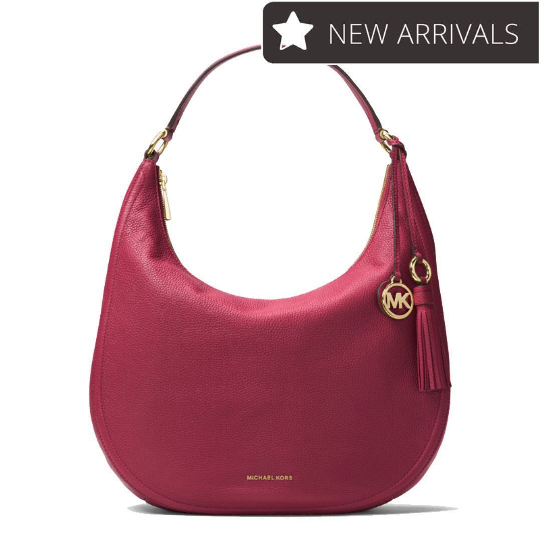 0fd4d20c8f0a New Arrival! Michael Kors Lydia Leather Shoulder Bag Mulberry From ...