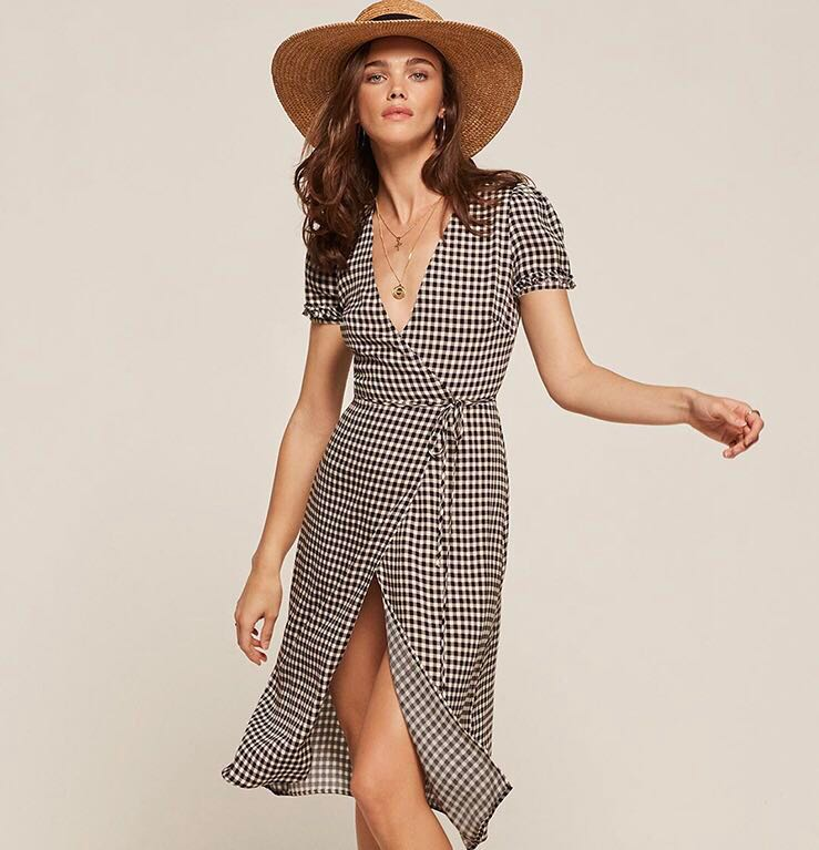 f67f21cf93 Plus Size Gingham Wrap Dress