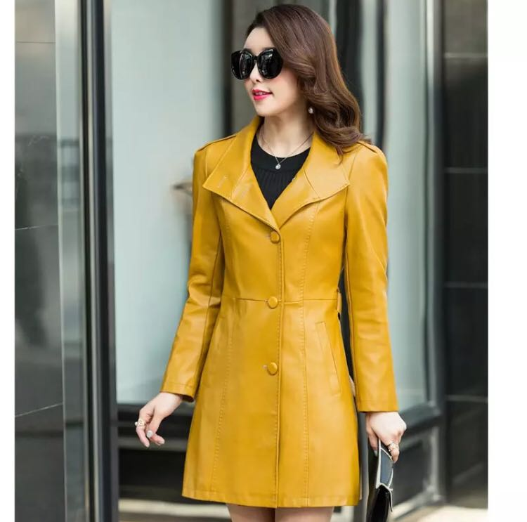 a3acf8519415f (PO) S-5XL Autumn Winter Soft Faux Leather jacket Female Single Breasted  Plus Size Women Long PU Leather Coat