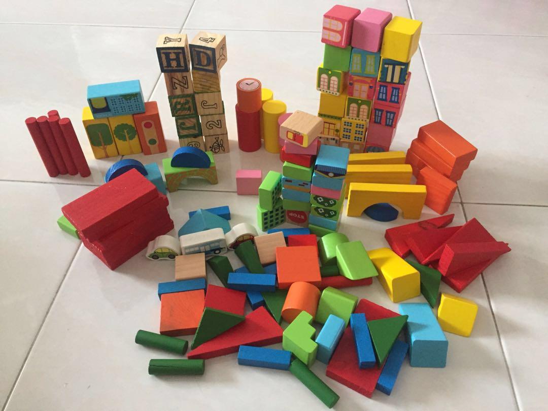 Wooden Building Blocks Toddler Preschoolers Toys Games Bricks