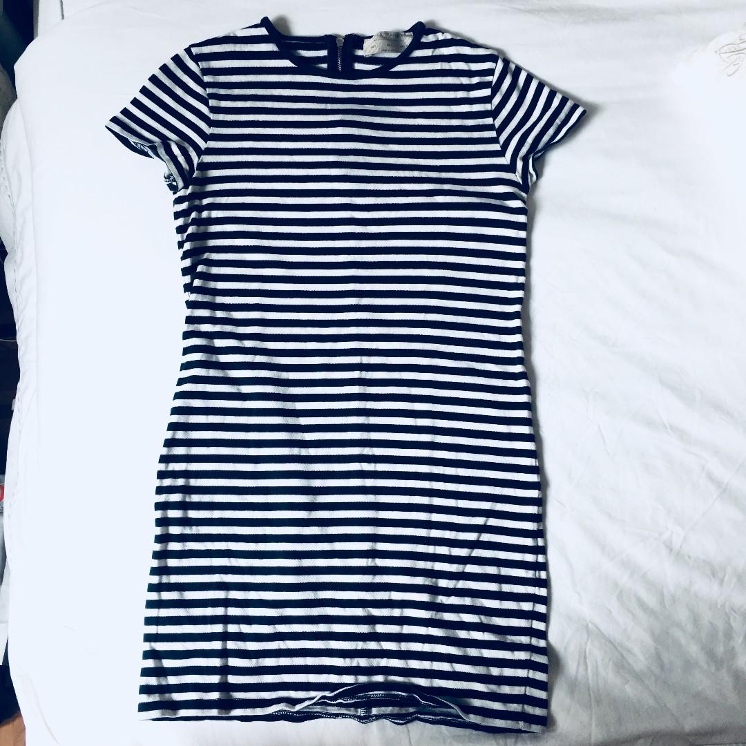 2a9fe50910 ZARA Petitie | Striped T shirt Dress (navy Blue), Women's Fashion ...