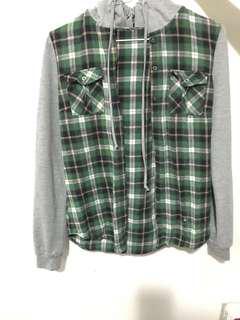 green flannel sweater / hoodie