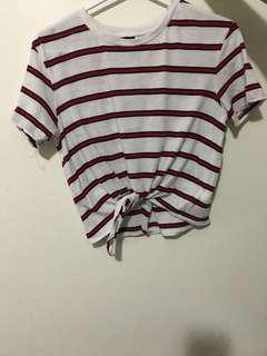 h&m tie stripe shirt