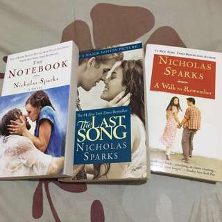 Pre-loved Nicholas Sparks Books (The Notebook, The Last Song, A Walk to Remember)