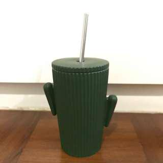 Cactus Ceramic Cup w a Metal Straw