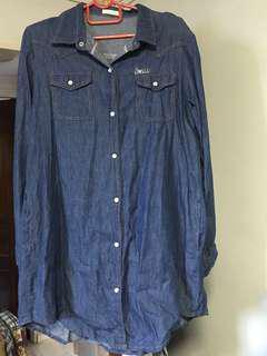 Fake dark blue denim shirt