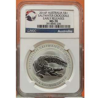 (NGC MS70 Early Releases) 2014年澳大利亞 Australia 鹽水鱷魚(Saltwater Crocodile) 1盎司銀幣