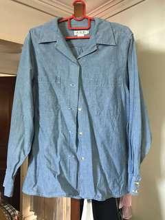 Fake light blue denim shirt