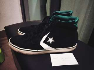 Converse Pro Leather (Suede) Vulc Hi Jet Black/Forest Green