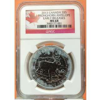 平售(NGC MS68評級)2013年加拿大(Canada) 爪角羚羊(Pronghorn Antelope) 1盎司銀幣 (9999純銀)