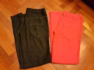 2 coloured stretchable jean-legging