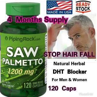 Piping Rock Saw Palmetto Herbal DHT blocker 1200mg Maxi Strength 120Caps (Botak, HairLoss, Prostate Health )