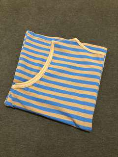 藍咖條紋背心彈性上衣