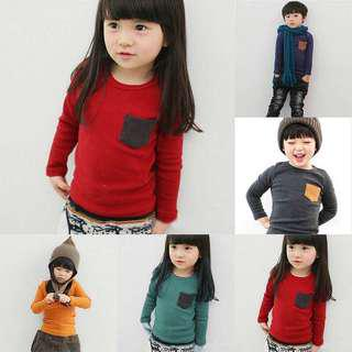 Boy Girl Kids Crewneck Long Sleeves
