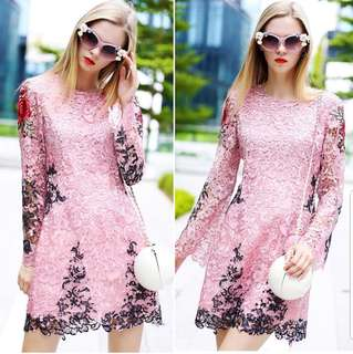 Floral Pink Lace Embroidered Dress