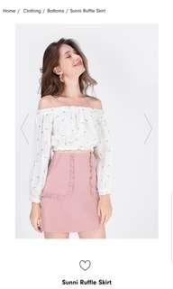 Fayth Label Sunni Ruffle Skirt In Mauve Pink