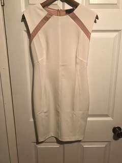 Bodycon cream and nude dress