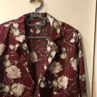 vintage royal red floral outerwear blouse