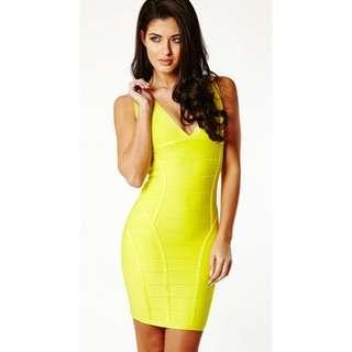 Jual rugi Dress herve leger yellow neon. Beli nya 499.000.