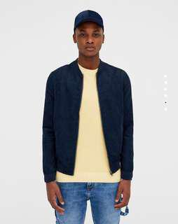 Pull & Bear Faux Suede Bomber Jacket Size L