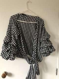 Checkered wrap top