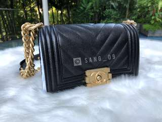 f17a5c756417 AUTHENTIC Chanel Caviar Chevron Quilted Small Boy Flapy Black in Aged Gold  Hardware