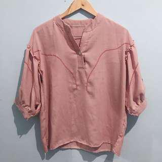 Nude pink polo top