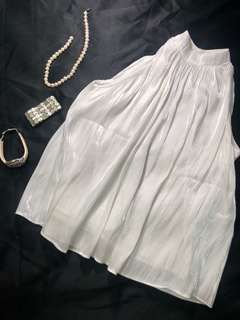 HighNeck Pleated Shiny&Wetlook White Tank Top
