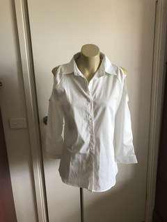 White Blouse with Cut Out Shoulder Details