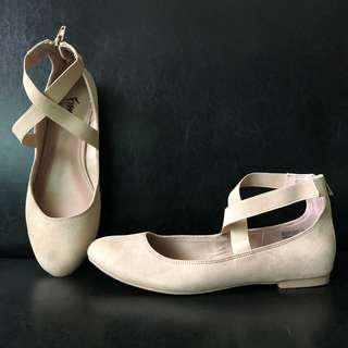 Payless: Suede Nude Ankle Crossband Shoes