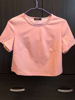 SHEIN 流行品牌背部鏤空雕花設計短版上衣